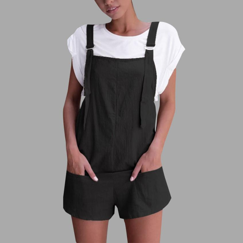 Feitong Women Elastic Waist Dungarees Linen Cotton Pockets Rompers Playsuit Shorts Pants Overalls Rompers combinaison femme-cigauy