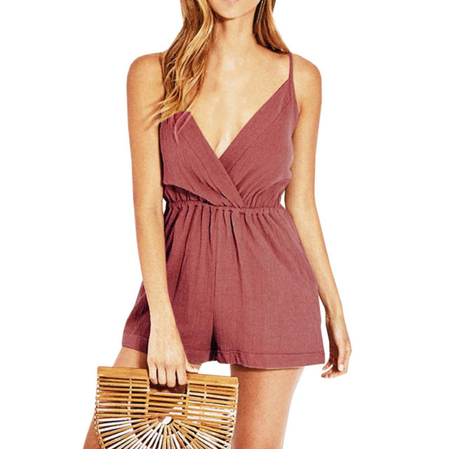 Cross Front Rolled Up Hem Romper Women Rompers Solid Jumpsuit Summer Short Overalls Jumpsuit Female Girl Playsuit-cigauy