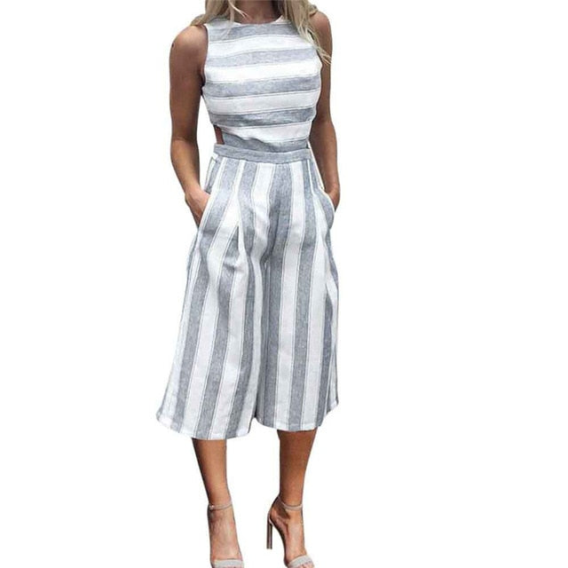 Jumpsuit 2018 New Women Sleeveless Striped Jumpsuit Casual Clubwear Wide Leg Pants Outfit Playsuit Overalls feminino July 11-cigauy