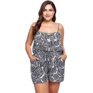 INVOLAND Plus Size Women Rompers Summer Beach Loose Playsuits Floral Print Spaghetti Strap Sleeveless oversized-cigauy