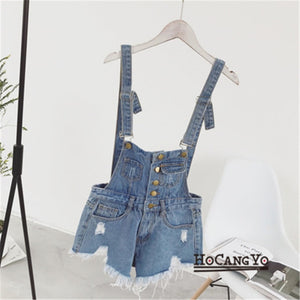 HCYO Rompers Womens Jumpsuit Shorts Denim Overalls for Womens Playsuits Rompers Plus Size Hole Vintage Straps Women Tracksuits-cigauy