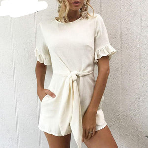 Forefair New Summer Casual Playsuit Women Ruffles Belt Bow Tie Woven Jumpsuit Romper 2018 Overalls-cigauy