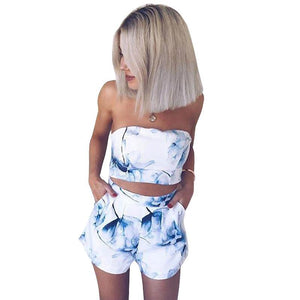 ForeFair Floral Sleeveless Two Pieces Women Sets Summer Strapless Rompers Floral Print Crop Tops and Shorts Female Overalls XL-cigauy