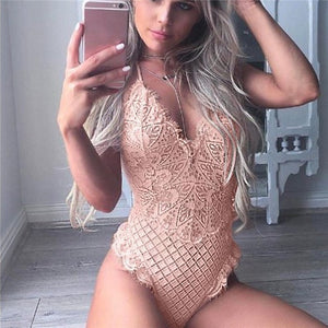 Fashion Cut Out Lace Bodysuits Solid Body Top 2018 Sexy Overall Beach Summer Playsuit Women V Neck Jumpsuits White Black XXL-cigauy