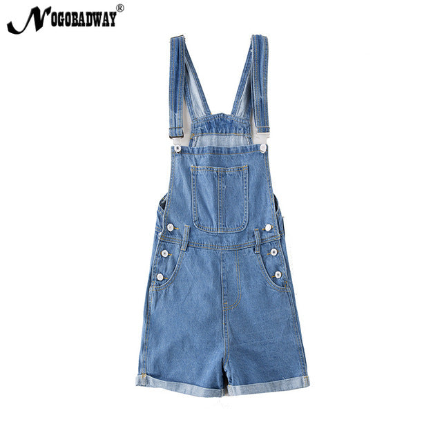 Short denim overalls women jumpsuit romper high waist casual fashion jeans playsuit washed blue dungarees 2018 summer clothing-cigauy