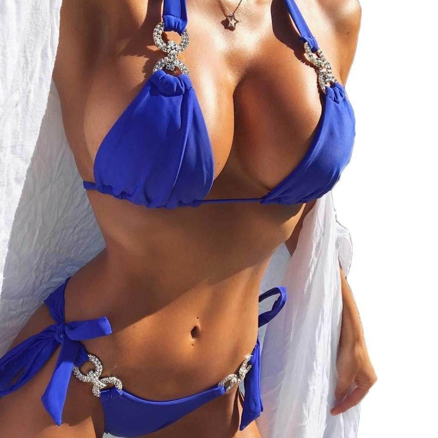 6 Colors Halter String Tie Padded 2018 Bikini Female Swimsuit Women Swimwear Two-pieces Bikini set Bather Bathing Suit Swim V681-cigauy