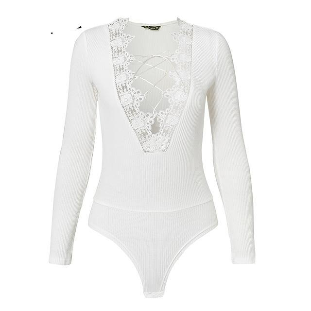 Simplee Sexy v neck black lace up bodysuit women Hollow out Long sleeve bodysuit jumpsuit autumn winter White bodycon bodysuit-cigauy