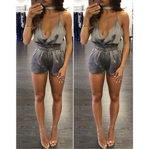 Solid Jumpsuit for Women V-neck Backless Halter Jumpsuits Rompers Plus Size Sleeveless Rompers Femme Sexy Party Club Bodysuit-cigauy