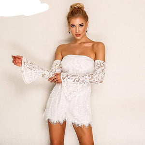 Joyfunear New Sexy Summer jumpsuit romper 2018 Off Shoulder Bodycon Short Lace Playsuit Women Elegant Flare Long Sleeve Overalls-cigauy