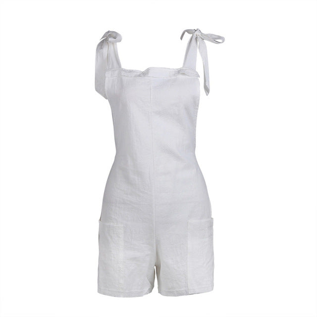 Summer Casual Women Sleeveless Beach Overalls Bodysuit Women Jumpsuit Shorts with Pockets T6-cigauy