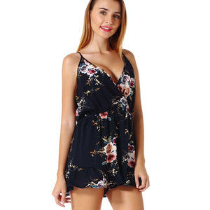 FLORATA Floral Print Chiffon Playsuit Women Summer Sexy Off Shoulder Halter Sleeveless Boho Rompers Jumpsuit Beach Work Overalls-cigauy