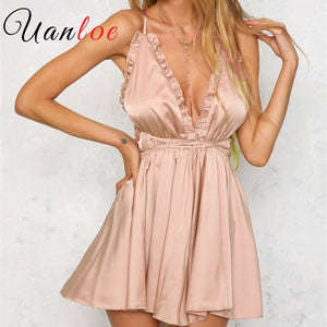 UANLOE 2018 Summer Women Jumpsuits Rompers Elegant Deep V Neck Pink Silk Satin Casual Beach Playsuit Bodysuit Overalls-cigauy