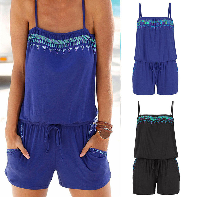 2018 Jumpsuit Off Shoulder Solid Print Mini Jumpsuit Romper Sleeveless Summer Beach Overalls O Neck Casual Short Playsuit Women-cigauy