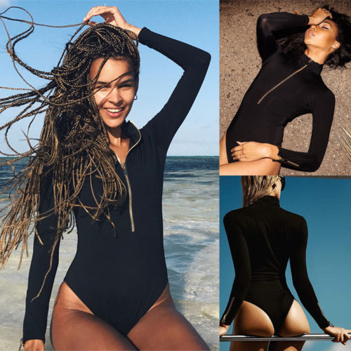 New Women's Long Sleeve Bodysuit Jumper Bodycon Jumpsuit Short Romper Ladies Female Zipper Casual Bodysuits-cigauy