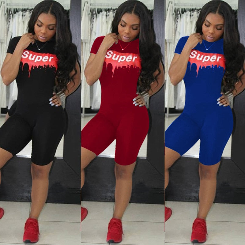 2018 Summer Rompers Women Casual Playsuits Print Letters SUPER Short Sleeve Bodycon Rompers One Piece Outfits Overalls-cigauy