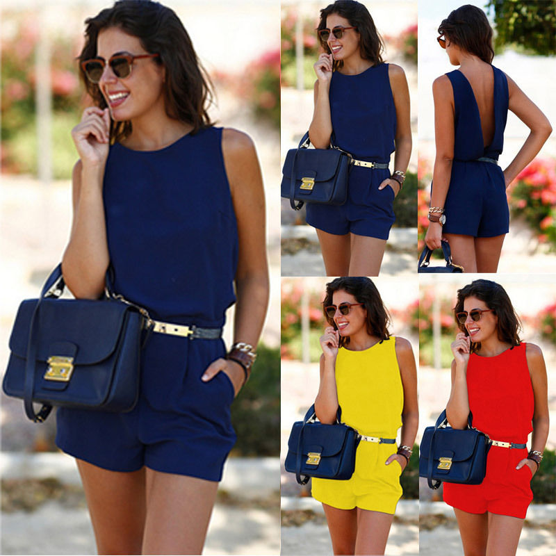 Womens Sexy Holiday Mini Playsuit Ladies Summer Beach Yellow Red Blue Size 6-14-cigauy