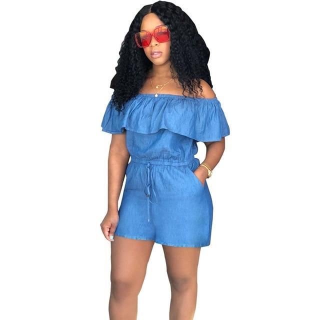 HAOYUAN Off Shoulder Sexy Denim Playsuit 2018 Streetwear Summer Jean Overalls One Piece Backless Casual Rompers Womens Jumpsuit-cigauy