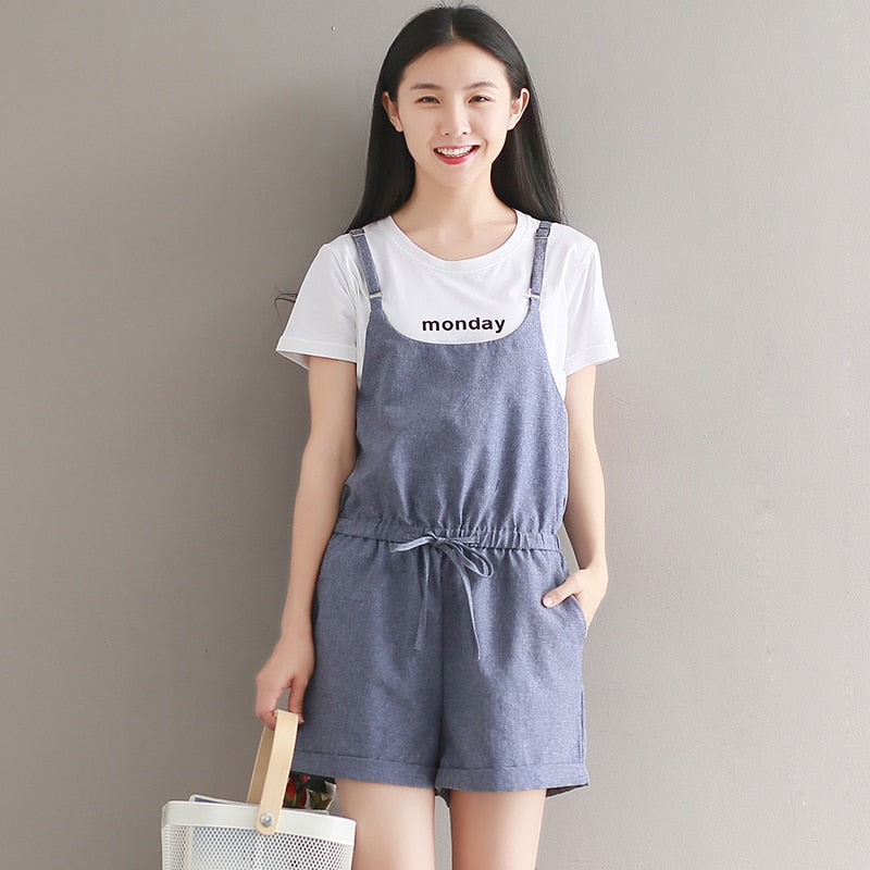 5016# Summer Women's Jumpsuits Vintage Rompers Salopette Bib Short Brushed Casual Cotton Linen Shorts Overalls 2018 New-cigauy