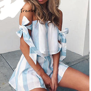 Casual Striped Playsuit off Shoulder Sexy Bodysuit Women Shorts Boho Jumpsuit vestido Summer Style Sash Bow Resort Wear Romper-cigauy
