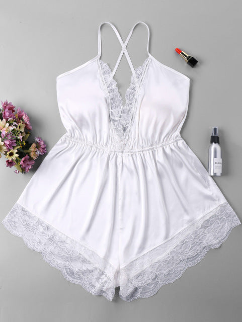 ZAN.STYLE Sexy Deep V neck Lace Crochet Women jumpsuit halter backless cross criss lace hem playsuit overalls body tops elastic-cigauy