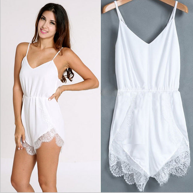 Women Strap Sleeveless Lace Chiffon Party Jumpsuit Rompers Playsuit Jumpsuit Women Combishort Femme Ete#LSJ-cigauy