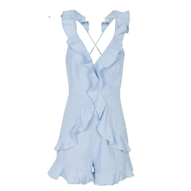 Simplee Ruffle v neck backless sexy jumpsuit women Elegant lace up solid short jumpsuit romper Casual beach summer jumpsuit-cigauy