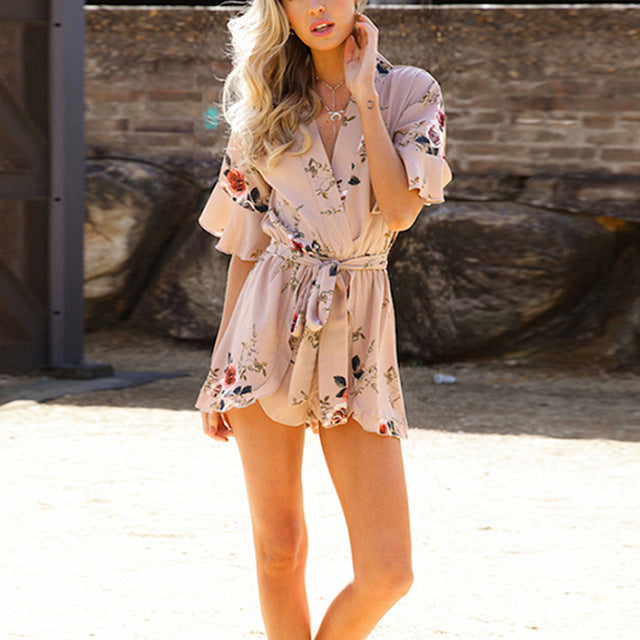 Bohemian Style Bodysuit Print Summer Fashion Boho Sexy Jumpsuit Playsuit Body Feminino Mono Mujer Romper Women Overall Clothes-cigauy