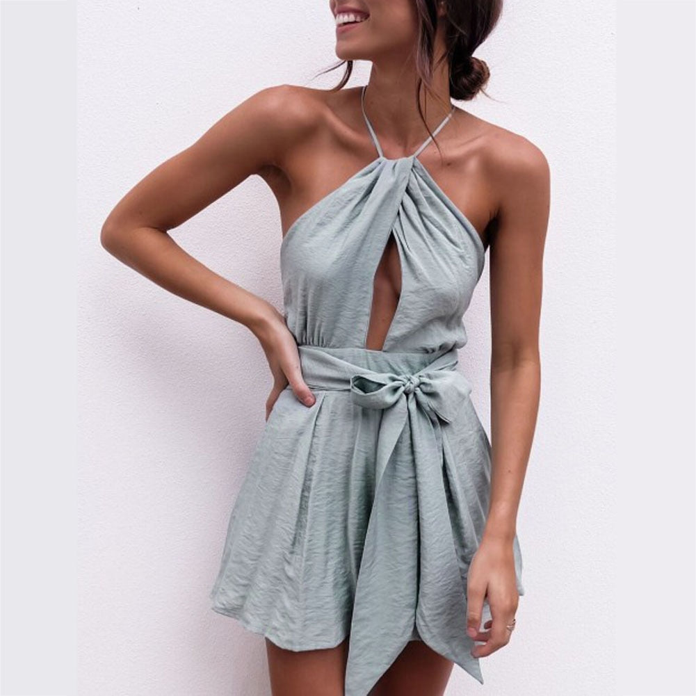Sexy Halter Neck Playsuit Ruffles Short Jumpsuit Women Elegant Backless Rompers 2018 Boho Beach Playsuit Top Back Cross Jumpsuit-cigauy
