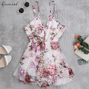 Gamiss 2018 Summer Holiday Floral Print Women Romper Jumpsuit Sexy Flower Chiffon Cami Strap Beach Romper Playsuit Overalls-cigauy
