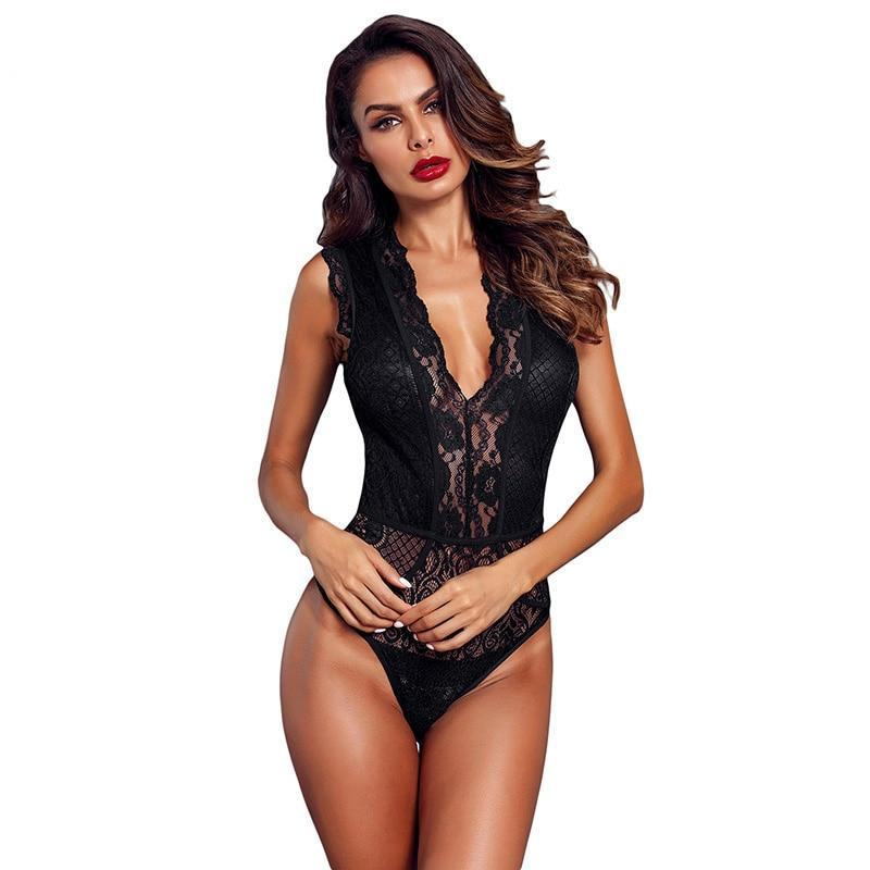 ADEWEL Women Black Hollow-out Lace Bodysuit Sexy Sleeveless V Neck Body Tops Female Club Wear Skinny Transparent Bodysuits-cigauy