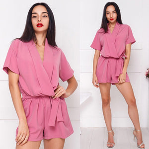 Women 2018 Summer Hot Casual Solid Rompers V-neck Short Sleeve Belt New Fashion Ladies Playsuits Elegant Party Female Jumpsuit-cigauy