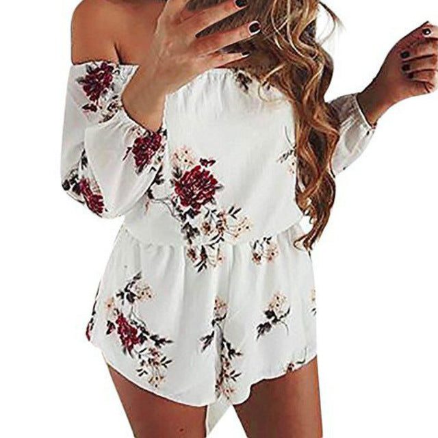 New Printed Playsuits Sexy Slash Neck Off Shoulder Chiffon Beach Rompers Women Playsuit Summer Plus Size Romper 5XL Female-cigauy
