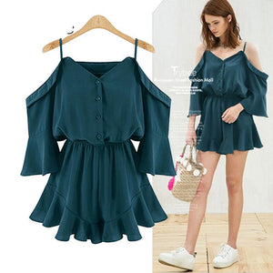 Trytrww Summer Rompers Women Casual Playsuit Fashion solid tops Jumpsuit Ladies Off Shoulder shorts Ruffles plus size Jumpsuits-cigauy