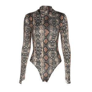 Laamei 2018 Autumn Snake Skin Turtleneck Long Sleeve High Neck Bodysuit Sexy Bodycon Romper Womens Jumpsuit Overall Bodysuits-cigauy
