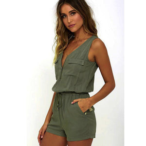 Women's Fashion Jumpsuit Fashion Women Sexy V Neck Jumpsuit Sleeveless Bodysuit  july11-cigauy
