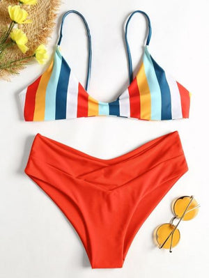 Belleziva High Waist Swimsuit 2018 Sexy Bikinis Women Swimwear Rainbow High Leg Summer Beach Bathing Suit Push Up Biquinis-cigauy