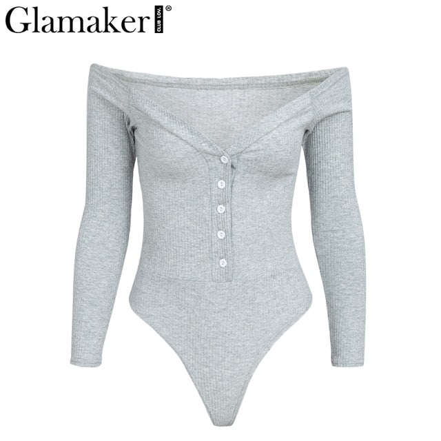 Glamaker Off shoulder buttons red sexy bodysuit Women fashion white bodycon one-pieces Slim soft party winter jumpsuits rompers-cigauy
