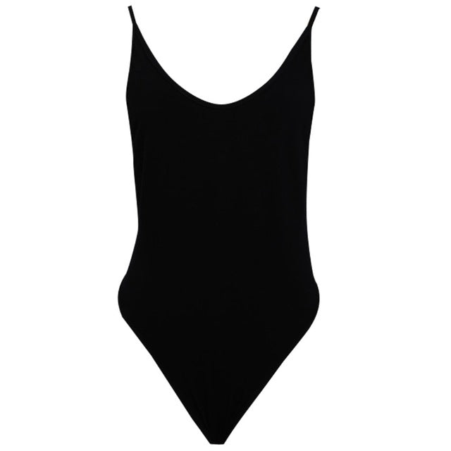 New Sexy Bodysuit Bodycon Jumpsuits Women Sleeveless Deep Side Cut Backless Leotard Solid Color Skinny Bodysuit-cigauy