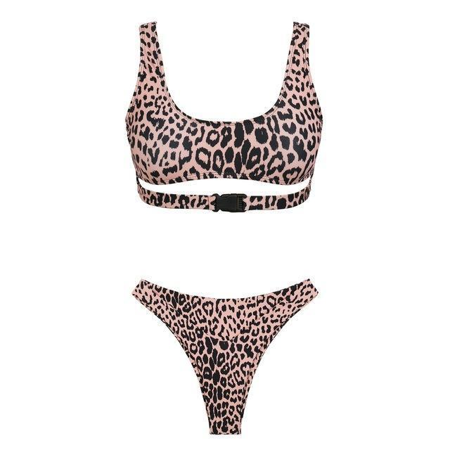 V bottom high cut tankini Buckle sexy swimsuit 2018 push up bandeau bikini Hollow out women bathing suit leopard summer swimwear-cigauy