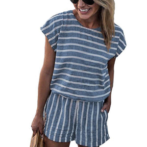 ELSVIOS Sexy Backless Bodysuits Rompers Women Short Sleeve Fashion Casual Stripe Playsuit 2018 Female Summer Jumpsuit overalls-cigauy