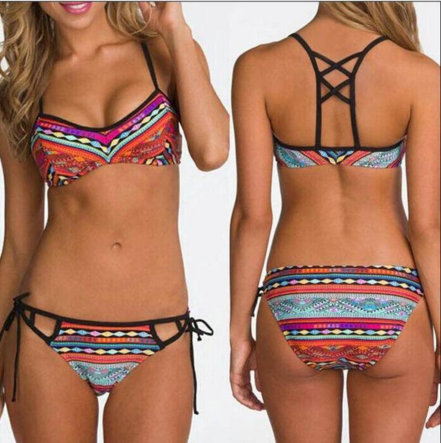 Hotapei women bikinis Swimsuit 2018 Retro Ethnic Printed Strappy Bikini Set LC410560 sexy Bandage biquini swimming Bathing Suits-cigauy