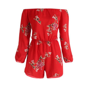 DROPSHIP 2018 New Arrival Women Sexy Off Shoulder Belt Backless Sexy Rompers Print Floral Jumpsuit Hot Red Freeship #J05-cigauy