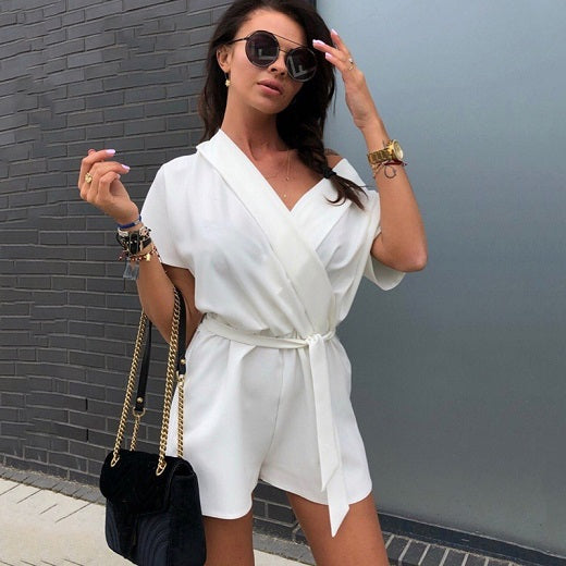 2018 New Summer Fashion V-neck Elegant Ladies Overalls Female Loose Belt Casual Playsuits Beach Short Sleeve Party Prom Jumpsuit-cigauy