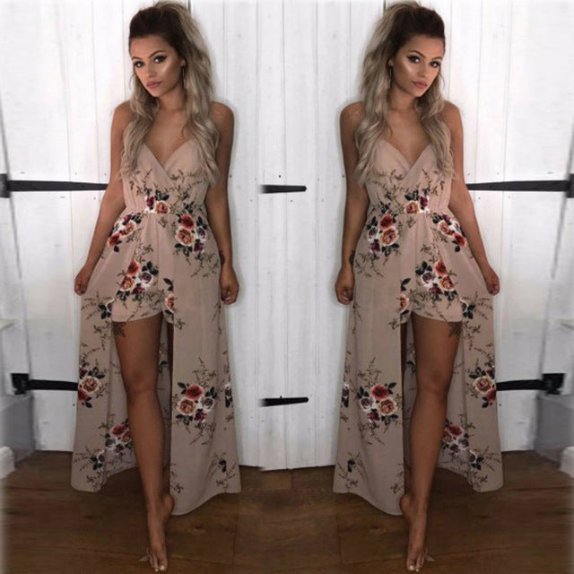 Woman Summer Autumn Rompers Jumpsuit Sexy Deep V Neck Sleeveless Ruffled Vintage Print Bodysuit Casual Beach Playsuit-cigauy