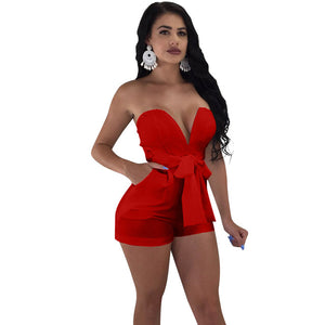 Women Sexy Club Jumpsuit Black White Strapless Rompers Off The Shoulder Bow Women Palysuits Sleeveless Backless Overalls A344-cigauy