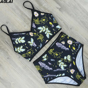 High Waist Bikini 2018 Floral Swimwear Women Push Up Swimsuit Sexy S-4XL Biquini Crop Top Bathing Suit Maillot De Bain Beachwear-cigauy