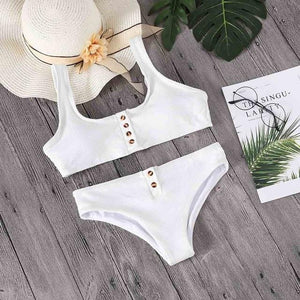 Lefeel 2018 Sexy Two Piece Bikini Set Solid Swimwear Low Waist Swimsuit Women Hot Sale Bikinis Bathing Suit Summer Biquini-cigauy