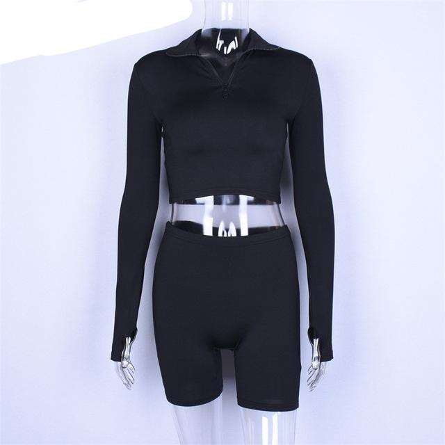 Sibybo Autumn Long Sleeve Casual Two Piece Set Jumpsuit Women Turtleneck Zipper Playsuit Women Black Crop Top and Shorts Set-cigauy