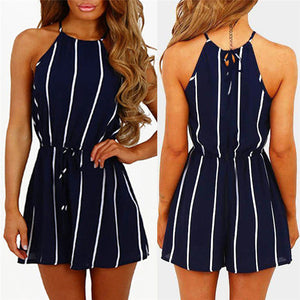 New Arrival New Style HOTSelling Fashion Women Stripe Printing Off Shoulder Sleeveless Rompers Jumpsuit Playsuit Smooth Mini #5-cigauy