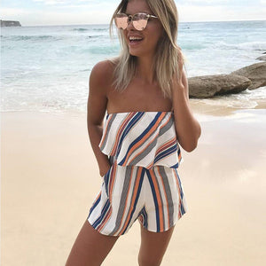 2017 Fashion Ruffles Slash Neck Beach Playsuits Off Shoulder Summer Women Print Jumpsuits Girls Casual Sexy Playsuit Overalls-cigauy